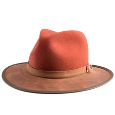 Summit Wool and Leather Outback Hat -Blood Orange Flat Brim Hat, Flat Hats, English Hats, Leather Hats, Soft Leather, Classic Hats, Snapback Hats, Fedora Hats, Cloche Hats