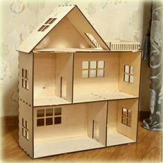 Cardboard Dollhouse, Wooden Dollhouse, Diy Dollhouse, Diy Barbie Furniture, Dollhouse Furniture, Popsicle Stick Crafts House, Making Wooden Toys, Doll House Plans, Doll House Crafts