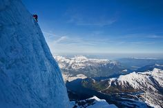 Uli Steck climbing the serac on the Nollen Route (Monch North Face) Jon Griffith