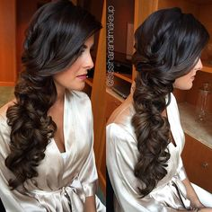 romantic sideswept curls wedding hair - so pretty!  ~  we ❤ this! moncheribridals.com