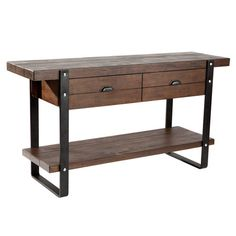 Planked wood sideboard with metal banding, riveted accents, and 2 shelves.    Product: SideboardConstruction Mater...