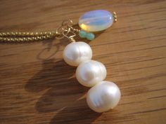 Pearl and Moonstone Charm Necklace by GoldfinchWorks on Etsy, $32.00