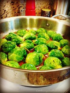 Glazed Brussels Sprouts | 3 slices bacon, ½ c beef broth, 2 Tbs honey, ½ tsp ground ginger and grated orange peel