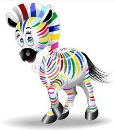 Cute #Baby #Cartoon #Zebra #Rainbow #Colors! #Vector © bluedarkat #38522178 -    http://us.fotolia.com/id/38522178/partner/200929677