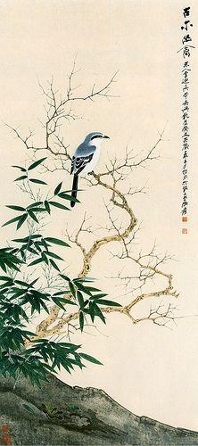 Chinese watercolors. Cute bird