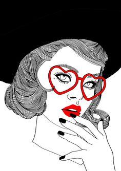 girl, drawing, black/white/red