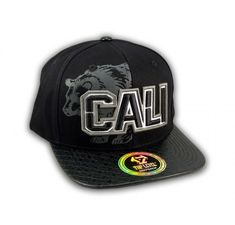 Black on Black Cali Bear Snapback Hat - Printed T-Shirts, Cadet Caps, Military Hats and Sportswear Military Hats, Hip Hop Hat, Bobe, Baseball Caps, Black Bear, Snapback Hats, Cali, Sportswear, Flats