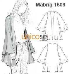 ABRIGO CAPA MUJER Clothing Patterns, Sewing Patterns, Moda Lolita, Sewing Blouses, Sewing Coat, Long Blazer, Jacket Pattern, Sweater Fashion, Fashion Sketches