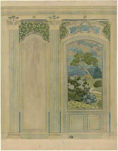 [Décor intérieur, lambris avec paysage] | Centre de documentation des musées - Les Arts Décoratifs