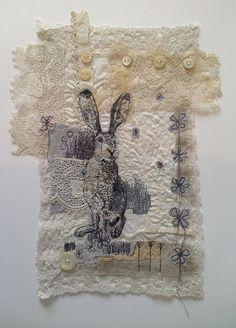 fantastic hare (machine embroidered piece) MrsBertimus @ Etsy