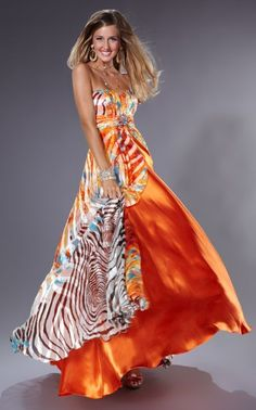 18b1605839 Tiffany Designs Silk Chiffon Animal Print Dress 16614 Orange Prom Dresses