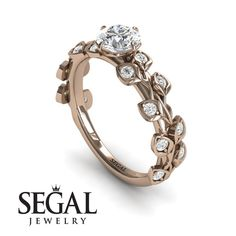 Rose Gold Engagement Ring by Segal Jewelry Elegant Engagement Rings, Princess Cut Engagement Rings, Rose Gold Engagement Ring, Wedding Ring Bands, Solitaire Engagement, Bridal Rings, Engagement Ring Buying Guide, Branches, Sapphire Rings