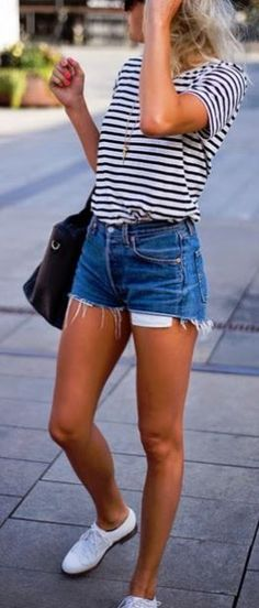 Summer Casual outfit with cutoff shorts and tee!