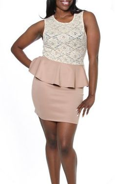 Plus Size Sexy Clubbing Outfits Gold Floral Lace Scoop Neck Sleeveless Peplum Mini Dress-Taupe-1X PinkClubwear, http://www.amazon.com/dp/B00B7ROTLG/ref=cm_sw_r_pi_dp_gtehrb1SX0Y98