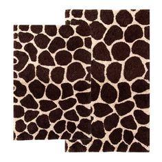 Brown Giraffe 2 Piece Bathroom Rug Set