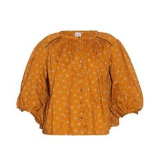 Thierry Colson Pandora carnation-print cotton blouse (670 ILS) ❤ liked on Polyvore featuring tops, blouses, thierry colson, yellow multi, loose blouse, pattern blouses, ruched sleeve top, yellow blouse and print blouse