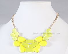 Yellow Cluster Necklace Bubble Jewelry Statement by GemPearls, $10.50