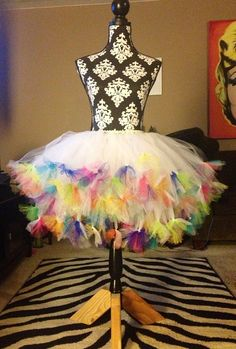 Super fluffy white and rainbow adult formal tutu skirt - great for Halloween!