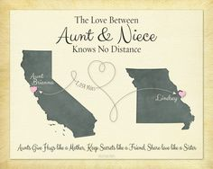 Long Distance Gift, Gift for Aunt, Gift for Niece, Gift for Auntie, Gift Print for Nieces, Long Distance Quote, Keepsake Print by KeepsakeMaps on Etsy
