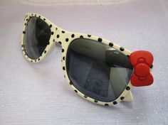 Polka Dot Nerd Sunglasses with Bow  White by SugarushCollections, $12.99 luv it!