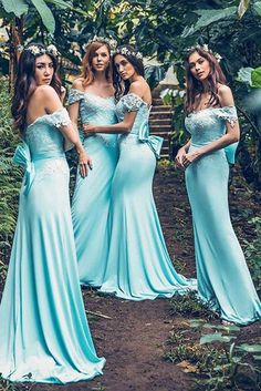 Blue Sheath Brush Train Off Shoulder Appliques Bridesmaid Dress 8f8cf25bafad