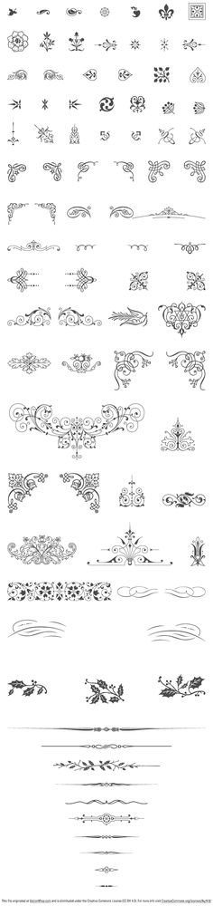 85 vintage vector ornaments: swashes, decorative corners, typographic ornaments, fleurons, vignettes, text dividers, brass rules, floral decorations…  Vectorized by hand from genuine type foundry catalogs from the Victorian era.  Published under a Creative Commons Attribution license and Free for both personal and commercial use. Under this condition: provide a link to http://www.vectorian.net with the mention