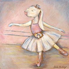 Bunny Ballerina II Canvas Reproduction