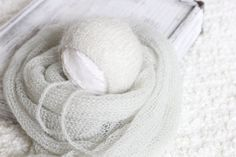 Knitted Mohair Wrap and bonnet Set, Gray Mohair Wrap and Bonnet