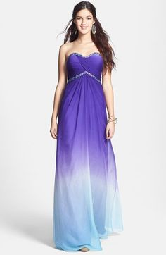 La Femme Embellished Ombré Chiffon Strapless Gown available at #Nordstrom