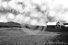 Photo about A black and white image of a Vermont Farm with a cut field of corn in the foreground and rolling hills in the background. Image of landscape, black, field - 96535236 Black White Photos, Black And White, White Image, Vermont, Agriculture, Barn, Stock Photos, Landscape, Outdoor