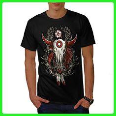 Rose Indian Beast Skull Men XXXXXL T-shirt | Wellcoda - Animal shirts (*Amazon Partner-Link)
