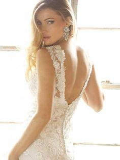 Allure, V neck wedding dress, backless wedding dress, lace bridal gown