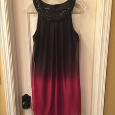 A. Byer NWT ombré dress size L NWT chiffon dress has jeweled collar detail and a back neck 2 button closures dress has a lining  Size L tag attached no flaws A. Byer Dresses Midi