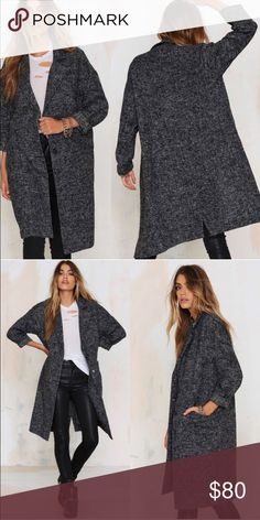 • Tatum Marled Coat Go marled or go home. The Tatum Coat is made in a thin wool-blend and features a black and gray marled design, notched collar, jetted pockets at front, button-up closure, and slightly oversized fit. Unlined. Layer it over jeans and a tee or a a corduroy skirt and knit sweater.  *Wool/Polyester  *Runs true to size  *Model is wearing size S Nasty Gal Jackets & Coats Pea Coats