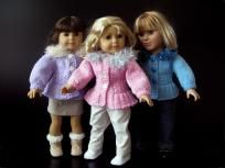 "Ice-Skater sweater Jacket knitting Pattern for 18"" dolls"