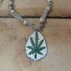 Copper enamel 420 hemp pendant / leaf maryjane / by Allfiredup358, $25.00
