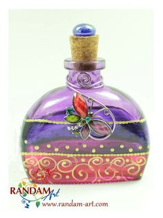 Hand Painted Art Bottle Art on Glass 6oz clear by RandamArt.