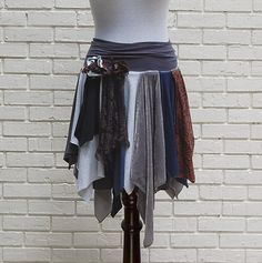 Tattered Gypsy Skirt Funky Hippie Boho Fairy by persnickedee  --this is cute. It might be nice in shades of green for a fairy costume.
