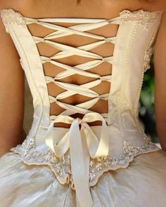 Flirty & romantic & oh so feminine Corset & Ribbon styling. Beautiful back for a masquerade ballgown or as an enchanting wedding dress!