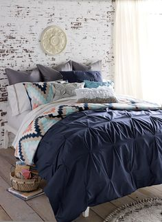 Blissliving Home Harper Navy Duvet Set. Chevron Design, Chevron Trend, Chevron Bedding.
