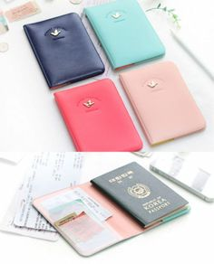 Shinzi Katoh - Soft Passport Case - Travel Passport Cover Boarding Pass Holder Baby Pink