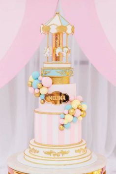 The Event Rental Company's Birthday / Circus / Carnival - Photo Gallery at Catch My Party Carnival Birthday Cakes, Circus Theme Cakes, Carnival Cakes, Carousel Birthday, Circus Birthday, Circus Party, Birthday Party Decorations, Circus Wedding, Carnival Parties