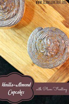 Vegan Almond-Vanilla Cupcakes w/ Plum Frosting Recipe #SwapMilk4Silk #ad