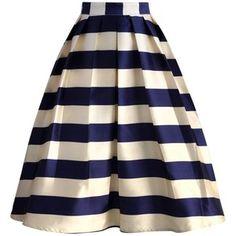 Chicwish Marine Blue Striped Midi Skirt
