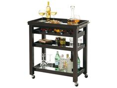 This Howard Miller Pienza Wine & Bar Cart is a simple and elegant touch to any home. This portable cabinet has four chrome finished ball casters which offer mobility around an entire room. It's finished in Black Coffee on select hardwoods and veneers and has a removable serving tray with an inset mirror and chrome finished bar pulls. There is one adjustable framed shelf with an inset mirror, one fixed framed bottom shelf with an inset mirror, wine bottle storage for five bottles of wine…