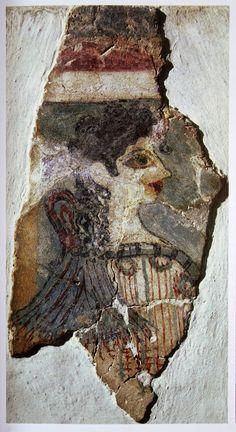 Busto di fanciulla detta Parigina;  XVII sec. a.C.; affresco frammentario proveniente da Cnosso. Heràklion, Isola di Creta,  Museo Archeologico.