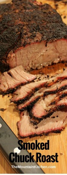 This smoked chuck roast is cheaper than prime rib, easier to get along with than brisket and it is a whole lot easier to come by in the grocery store. Smoked Chuck Roast {A Step-by-step Guide Smoked Beef Roast, Smoked Chuck Roast, Beef Chuck Roast, Smoked Pork, Smoked Brisket, Smoked Roast Recipe, Chuck Roast Grilled, Roast Brisket, Traeger Recipes