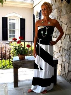 Black and White Color Block Maxi. SIze 6/8. Starting at $14 on Tophatter.com!