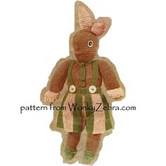 A very vintage rabbit in a pattern of 3 toys, this is Meg. the others are Jum the elephant and Jim the horse! WZ171