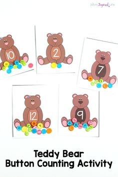 Teddy bear button counting activity to go with the book Corduroy. A fun preschool and kindergarten math activity.